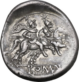 reverse: Dolphin (first) series. AR Denarius, c. 209-208 BC, Sicily (?)