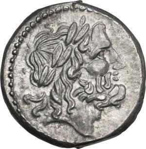 obverse: LT series. AR Victoriatus, c. 214-212 BC, Luceria mint