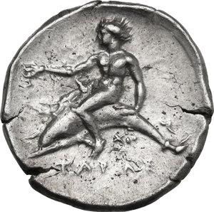 reverse: Southern Apulia, Tarentum. AR Nomos, c. 380-340 BC