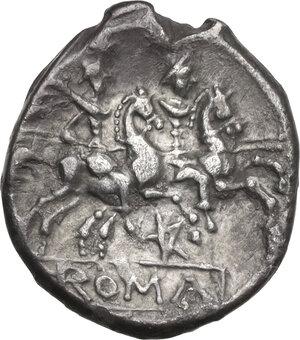 reverse: Pentagram (second) series. AR Denarius, uncertain mint, c. 206-200 BC