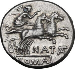 reverse: Pinarius Natta. AR Denarius, 149 BC