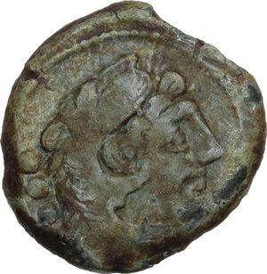 obverse: C. Terentius Lucanus. AE Quadrans, 147 BC