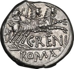 reverse: C. Renius. AR Denarius, 138 BC