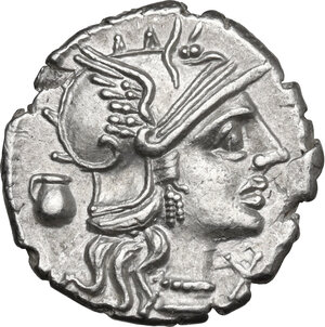 obverse: Sex. Pompeius Fostlus. AR Denarius, 137 BC
