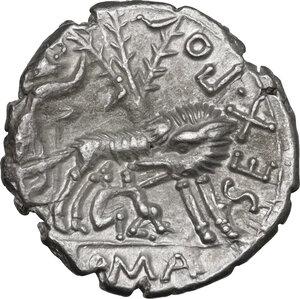 reverse: Sex. Pompeius Fostlus. AR Denarius, 137 BC