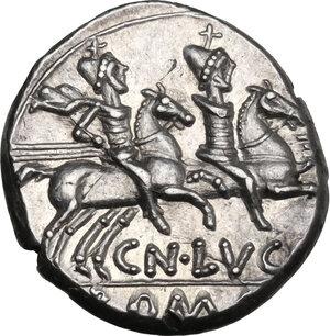 reverse: Cn. Lucretius Trio. AR Denarius, 136 BC