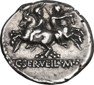 reverse: C. Servilius M.f. AR Denarius, 136 BC