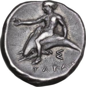 reverse: Southern Apulia, Tarentum. AR Nomos, c. 380-370 BC