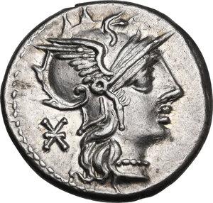 obverse: P. Maenius Antiaticus M. f. . AR Denarius, 132 BC
