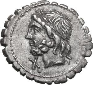 obverse: L. Scipio Asiagenus. AR Denarius serratus, 106 BC