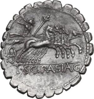 reverse: L. Scipio Asiagenus. AR Denarius serratus, 106 BC