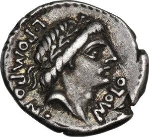 obverse: L. Pomponius Molo. AR Denarius, 97 BC