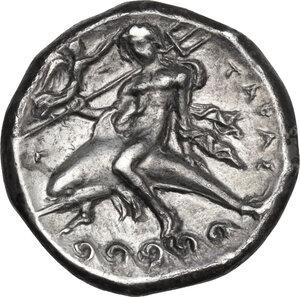 reverse: Southern Apulia, Tarentum. AR Nomos, c. 340-332 BC