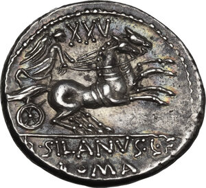 reverse: D. Silanus L.f. AR Denarius, 91 BC