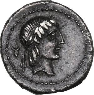 obverse: L. Calpurnius Piso Frugi. AR Quinarius, 90 BC