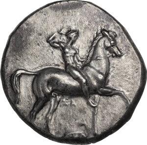 obverse: Southern Apulia, Tarentum. AR Nomos, c. 332-302 BC. Sa- and Kon- magistrates