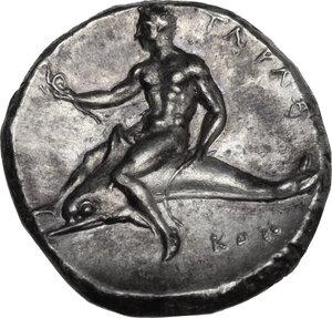 reverse: Southern Apulia, Tarentum. AR Nomos, c. 332-302 BC. Sa- and Kon- magistrates