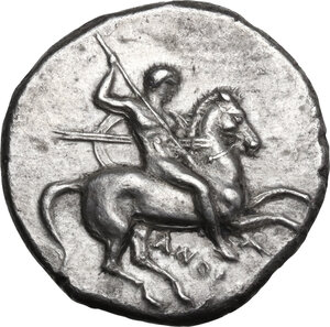 obverse: Southern Apulia, Tarentum. AR Nomos, c. 302-280 BC. Anthrop-, Eu-, and Ar-, magistrates