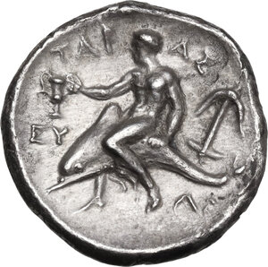 reverse: Southern Apulia, Tarentum. AR Nomos, c. 302-280 BC. Anthrop-, Eu-, and Ar-, magistrates