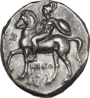 obverse: Southern Apulia, Tarentum. AR Nomos, c. 302-280 BC. Nikodamos, Eu-, and Aga-, magistrates