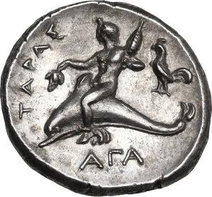 reverse: Southern Apulia, Tarentum. AR Nomos, c. 302-280 BC. Nikodamos, Eu-, and Aga-, magistrates