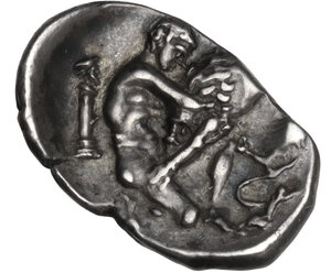 reverse: Southern Apulia, Tarentum. AR Diobol, c. 325-280 BC. BC