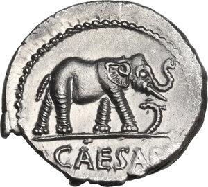 obverse: Julius Caesar. AR Denarius, mint moving with Caesar, 49-48 BC