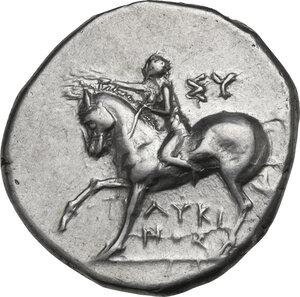obverse: Southern Apulia, Tarentum. AR Nomos, c. 272-240 BC. Sy- and Lykinos, magistrates