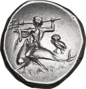 reverse: Southern Apulia, Tarentum. AR Nomos, c. 272-240 BC. Sy- and Lykinos, magistrates