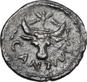 obverse: C. Antius C.f. Restio. AR Sestertius, 47 BC