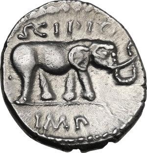 reverse: Q. Caecilius Metellus Pius Scipio. AR Denarius, 47-46 BC. Africa