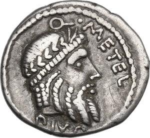 obverse: Q. Caecilius Metellus Pius Scipio. AR Denarius, 47-46 BC. Africa