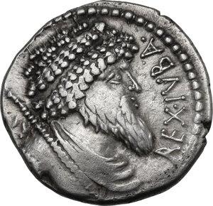 obverse: Juba I, king of Numidia. AR
