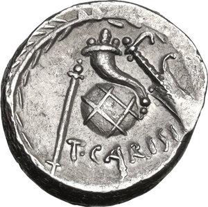 reverse: T. Carisius. AR Denarius, 46 BC