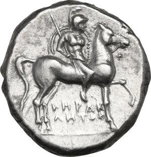 obverse: Southern Apulia, Tarentum. AR Nomos, c. 281-240 BC. Herakletos, Fi- and Ep- magistrates