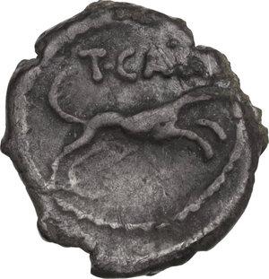reverse: T. Carisius. AR Sestertius, 46 BC