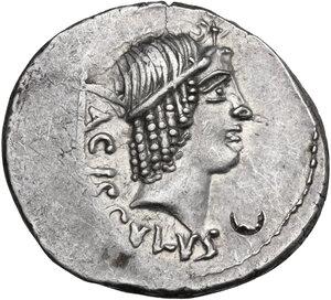 obverse: L. Valerius Acisculus. AR Denarius, 45 BC