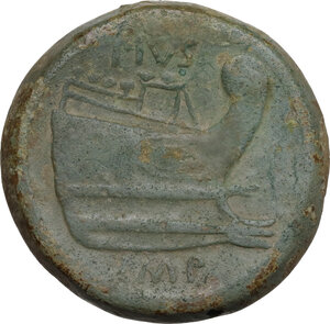 reverse: Sextus Pompeius Magnus Pius. AE As, c. 42-38 BC. Sicily