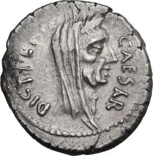 obverse: Julius Caesar. AR Denarius, 44 BC, P. Sepullius Macer moneyer