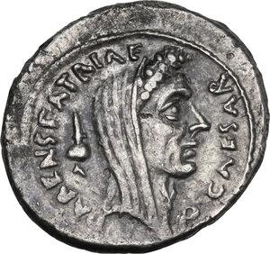 obverse: Julius Caesar. AR Denarius, C. Cossutius Maridianus moneyer, 44 BC