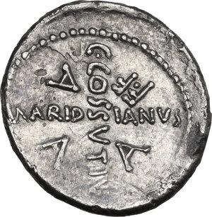 reverse: Julius Caesar. AR Denarius, C. Cossutius Maridianus moneyer, 44 BC