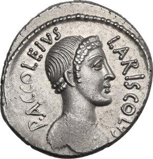 obverse: P. Accoleius Lariscolus. AR Denarius, 43 BC