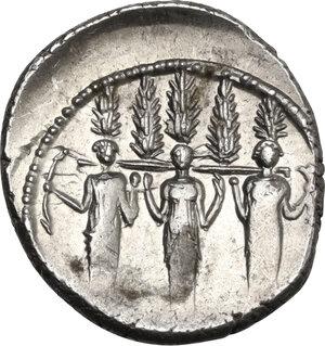 reverse: P. Accoleius Lariscolus. AR Denarius, 43 BC