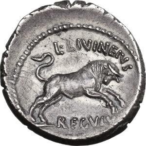 reverse: Julius Caesar. AR Denarius, Rome mint, 42 BC. L. Livineius Regulus, moneyer