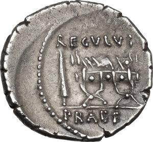 reverse: L. Livineius Regulus. AR Denarius, 42 BC