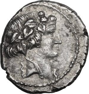 obverse: C. Vibius Varus. AR Denarius, 42 BC