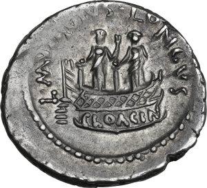 reverse: L. Mussidius Longus. AR Denarius, 42 BC