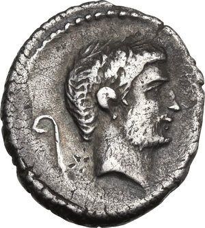 obverse: Mark Antony. AR Denarius, mint moving with Mark Antony, 42 BC