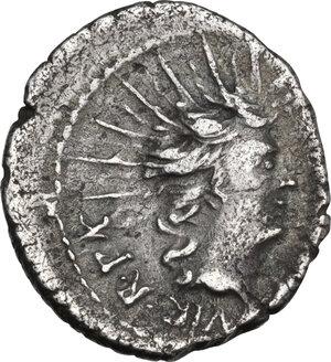 reverse: Mark Antony. AR Denarius, mint moving with Mark Antony, 42 BC