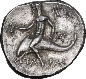 reverse: Southern Apulia, Tarentum. AR Nomos, c. 240-228 BC. Daimachos, magistrate